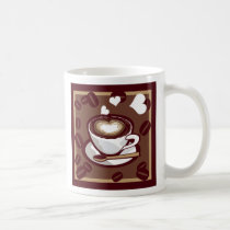 art, pop, mug, icon, lait, cafe, card, love, cute, funny, humor, aroma, brown, drink, heart, beans, happy, design, coffee, vector, symbol, refresh, graphic, morning, caffeine, colorful, cappuccino, illustration, cafe-au-lait, illustrations, Caneca com design gráfico personalizado