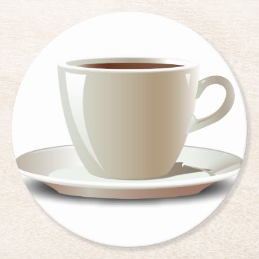 bartonleclaydesign Cappuccino Coffee Mug Round Paper Coaster
