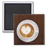 Cappuccino con amor imán cuadrado