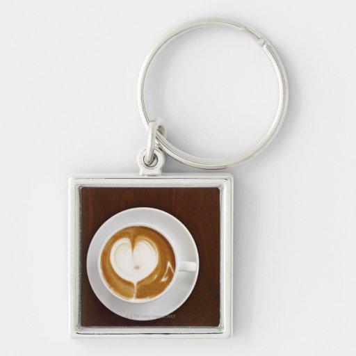 Cappuccino con amor llavero cuadrado plateado