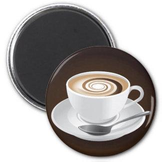 Cappuccino con remolino imán redondo 5 cm