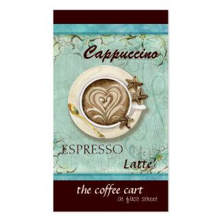 Cappuccino de la cafetería, tarjetas del café tarjetas de visita