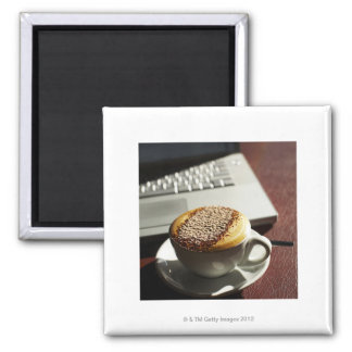 Cappuccino in front of laptop 2 inch square magnet