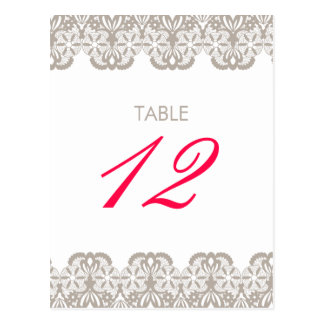 Cappuccino Lace Table Number Card