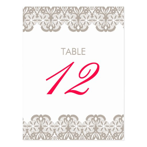 Cappuccino Lace Table Number Card Postcard