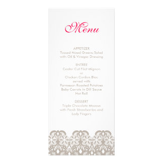 Cappuccino Lace Wedding Menu