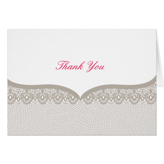 Cappuccino Lace Wedding Thank You Note Card