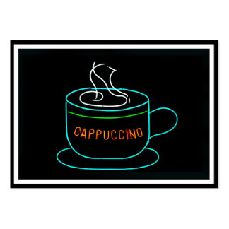 Cappuccino Neon Sign Large Business Cards (Pack Of 100)