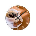 Cappuccino Round Clocks