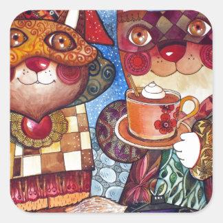 Cappuccino under  bridge square sticker