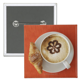 Cappuccino with chocolate and a croissant, Italy Pinback Button