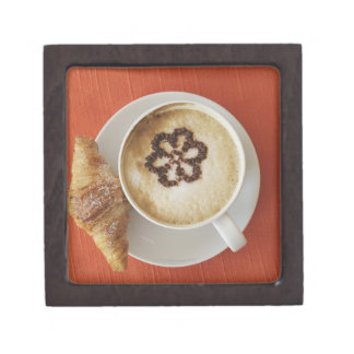 Cappuccino with chocolate and a croissant, Italy Jewelry Box