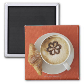 Cappuccino with chocolate and a croissant, Italy Magnet
