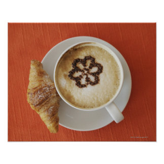 Cappuccino with chocolate and a croissant, Italy Posters