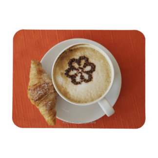 Cappuccino with chocolate and a croissant, Italy Rectangular Photo Magnet