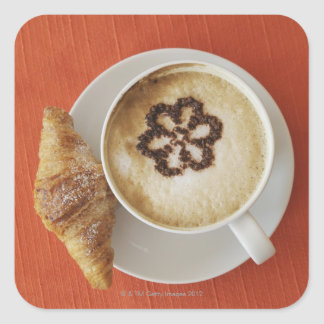 Cappuccino with chocolate and a croissant, Italy Square Sticker