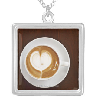 Cappuccino with love silver plated necklace