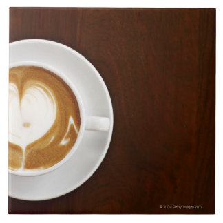 Cappuccino with love large square tile