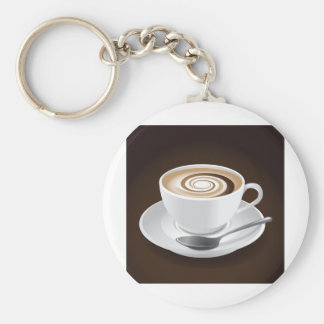 Cappuccino With Swirl Basic Round Button Keychain