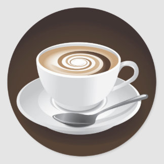 Cappuccino With Swirl Classic Round Sticker