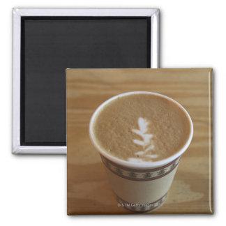 Cappuccino with tree design in foam 2 inch square magnet