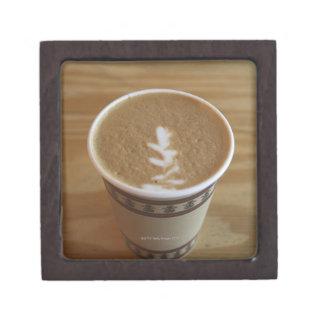 Cappuccino with tree design in foam keepsake box