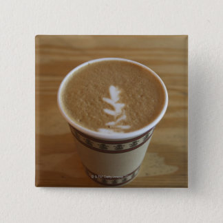 Cappuccino with tree design in foam pinback button