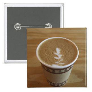 Cappuccino with tree design in foam pinback button