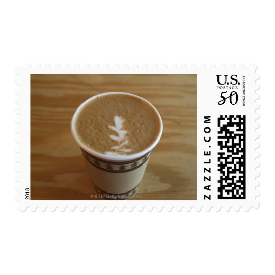 Cappuccino with tree design in foam postage