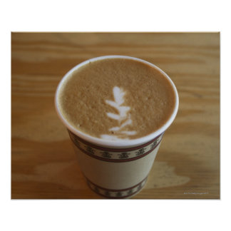 Cappuccino with tree design in foam poster