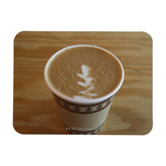 Cappuccino with tree design in foam rectangular photo magnet