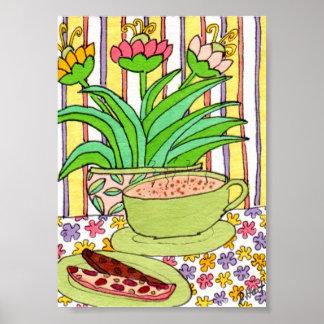Cappuccino y Biscotti en un mini arte popular del Póster