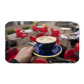Cappucino being served at outdoor cafe. iPhone 3 cover