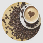 Cappucino Heart Cafe Round Stickers