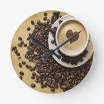 Cappucino Heart Cafe Round Wallclock