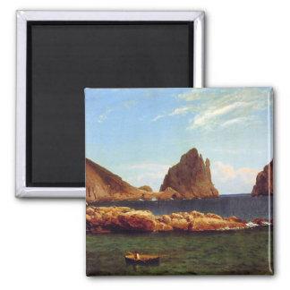 Capri - Albert Bierstadt 2 Inch Square Magnet