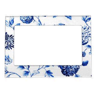 Capri Blue Vintage Botanical Floral Toile No.2 Magnetic Picture Frame