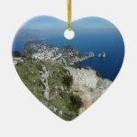Capri Faraglion Rocks Italy High View.JPG Ceramic Heart Decoration