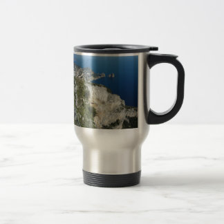 Capri Faraglion Rocks Italy High View.JPG Travel Mug