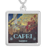 Capri, Italy Vintage Travel Poster Square Pendant Necklace