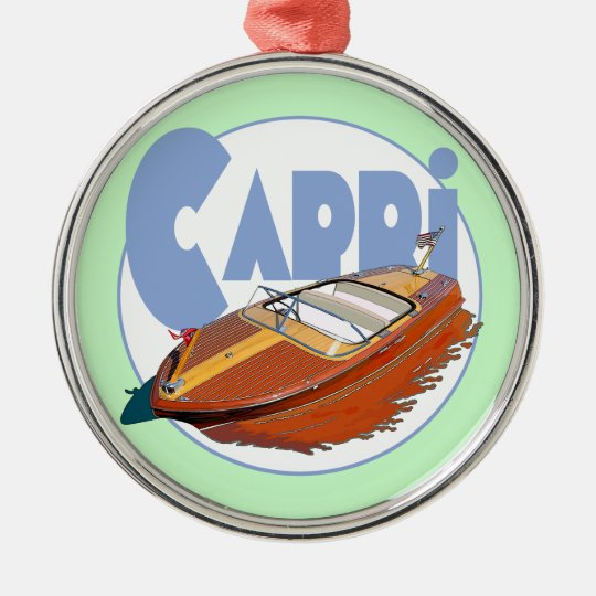 Capri Powerboat Metal Ornament