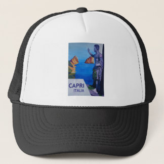Capri view with Ancient Roman Empire Statue Poster Trucker Hat
