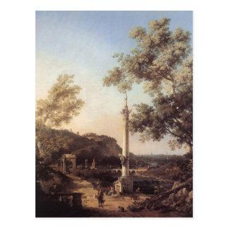 Capriccio: River Landscape with a Column Canaletto Postcard