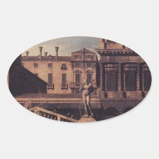 Capriccio: The Ponte della Pescaria and Buildings Oval Sticker