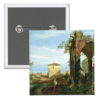Capriccio with Motifs from Padua, c.1756 2 Inch Square Button