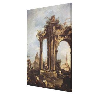 Capriccio with Roman Ruins, a Pyramid and Gallery Wrap Canvas