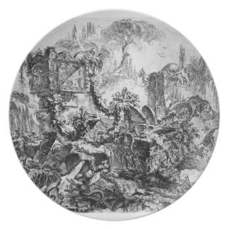 Caprice decoration, a group of ruins inhabited melamine plate