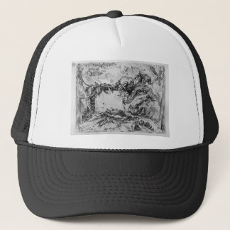Caprice decorative frames in the middle of a wall trucker hat