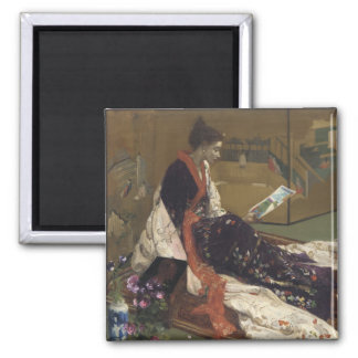 Caprice in Purple and Gold - James Whistler 2 Inch Square Magnet