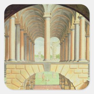 Capricho arquitectónico pegatina cuadrada